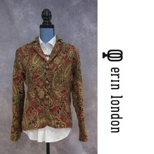 Erin London Red & Olive Tapestry Blazer Size M